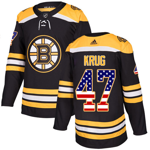 Adidas Bruins #47 Torey Krug Black Home Authentic USA Flag Stitched NHL Jersey