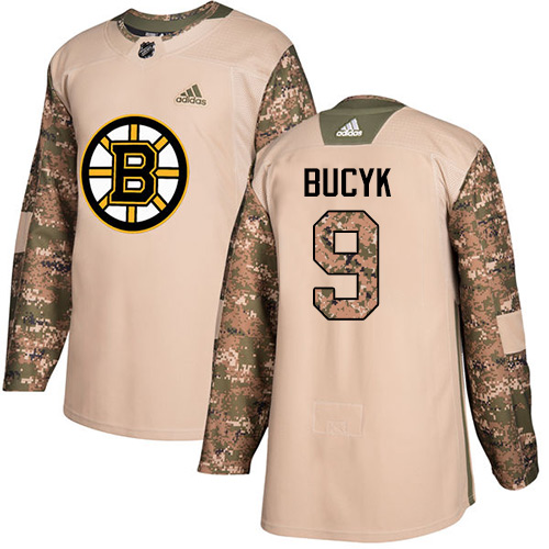Adidas Bruins #9 Johnny Bucyk Camo Authentic Veterans Day Stitched NHL Jersey