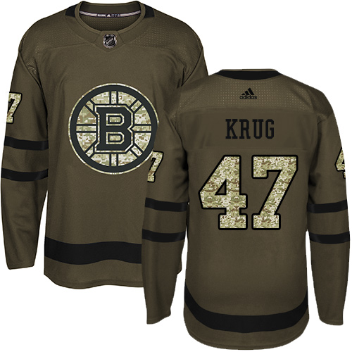 Adidas Bruins #47 Torey Krug Green Salute to Service Stitched NHL Jersey