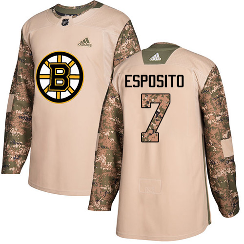 Adidas Bruins #7 Phil Esposito Camo Authentic Veterans Day Stitched NHL Jersey