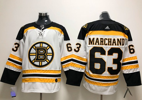 Adidas Bruins #63 Brad Marchand White Road Authentic Stitched NHL Jersey
