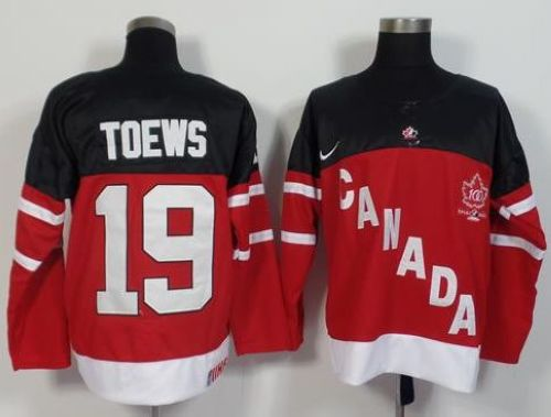 Olympic CA. #19 Jonathan Toews Red 100th Anniversary Stitched NHL Jersey