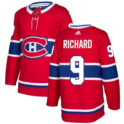 Adidas Canadiens #9 Maurice Richard Red Home Authentic Stitched NHL Jersey