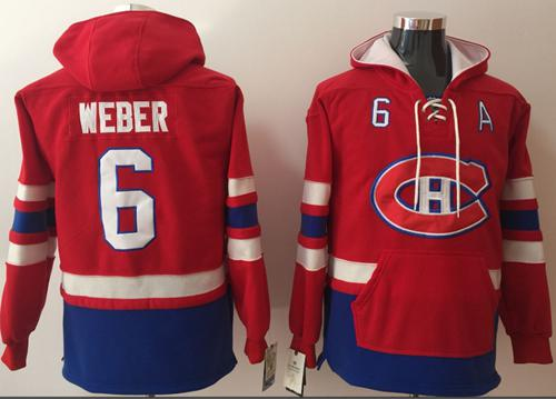 Canadiens #6 Shea Weber Red Name & Number Pullover NHL Hoodie