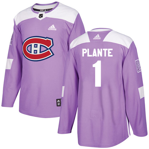 Adidas Canadiens #1 Jacques Plante Purple Authentic Fights Cancer Stitched NHL Jersey