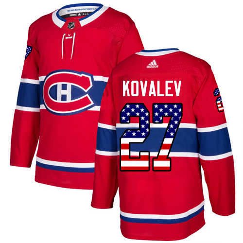 Adidas Canadiens #27 Alexei Kovalev Red Home Authentic USA Flag Stitched NHL Jersey