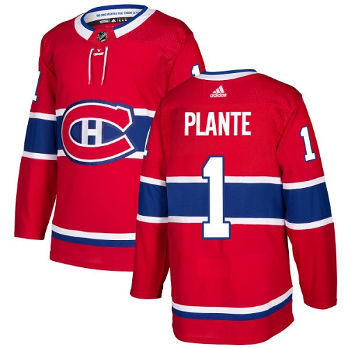 Adidas Canadiens #1 Jacques Plante Red Home Authentic Stitched NHL Jersey
