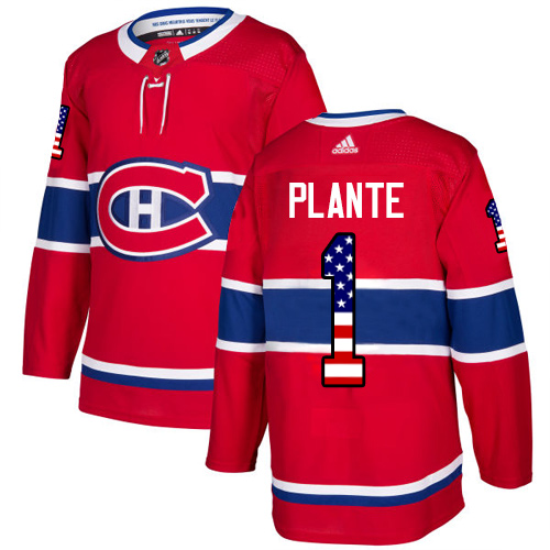 Adidas Canadiens #1 Jacques Plante Red Home Authentic USA Flag Stitched NHL Jersey