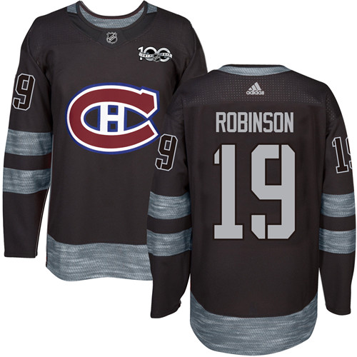 Adidas Canadiens #19 Larry Robinson Black 1917-100th Anniversary Stitched NHL Jersey