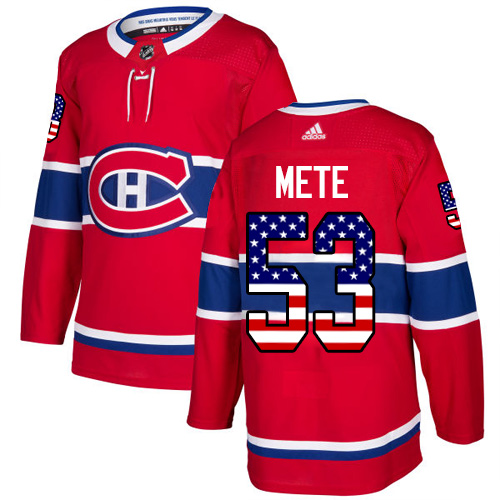Adidas Canadiens #53 Victor Mete Red Home Authentic USA Flag Stitched NHL Jersey