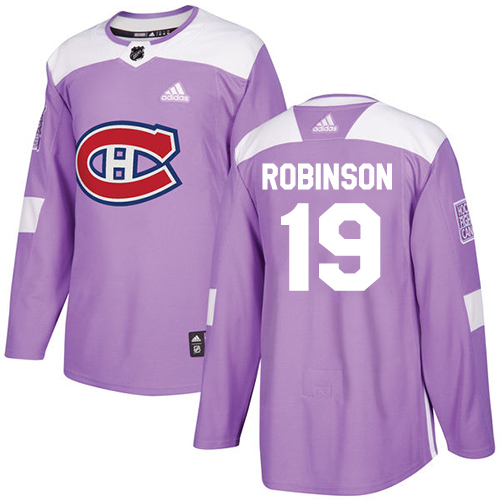 Adidas Canadiens #19 Larry Robinson Purple Authentic Fights Cancer Stitched NHL Jersey