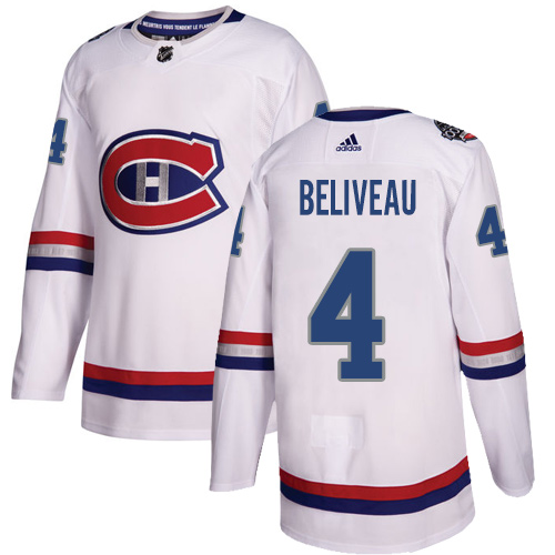 Adidas Canadiens #4 Jean Beliveau White Authentic 100 Classic Stitched NHL Jersey