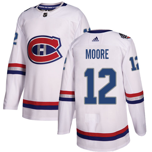 Adidas Canadiens #12 Dickie Moore White Authentic 100 Classic Stitched NHL Jersey