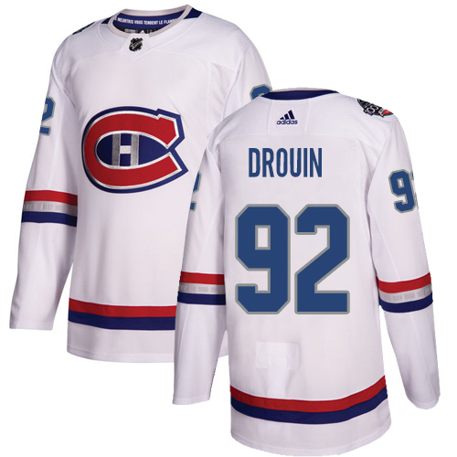 Adidas Canadiens #92 Jonathan Drouin White Authentic 100 Classic Stitched NHL Jersey