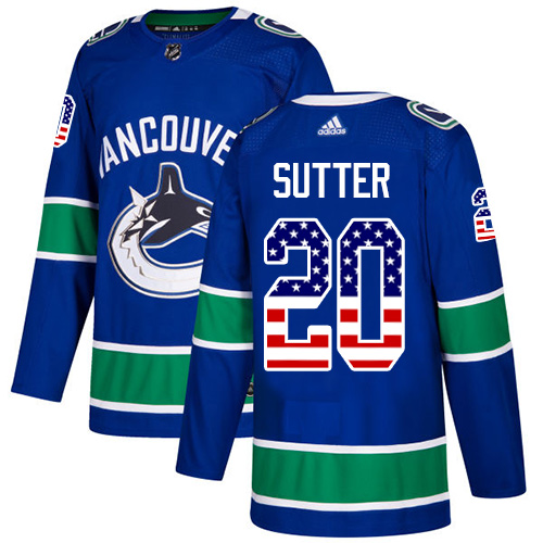 Adidas Canucks #20 Brandon Sutter Blue Home Authentic USA Flag Stitched NHL Jersey