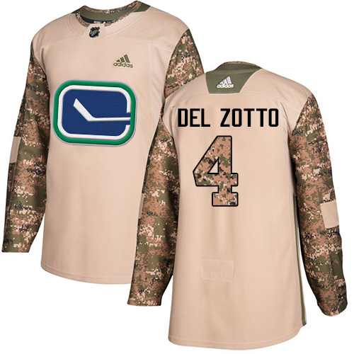 Adidas Canucks #4 Michael Del Zotto Camo Authentic Veterans Day Stitched NHL Jersey