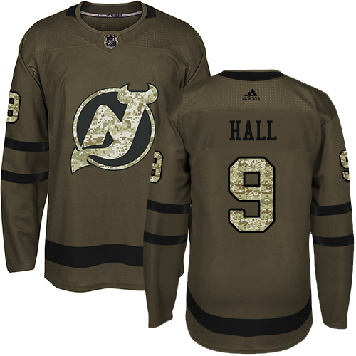 Adidas Devils #9 Taylor Hall Green Salute to Service Stitched NHL Jersey