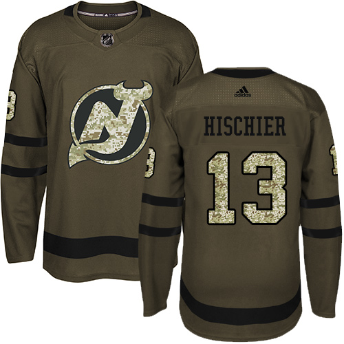 Adidas Devils #13 Nico Hischier Green Salute to Service Stitched NHL Jersey