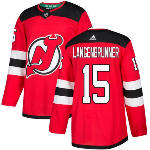 Adidas Devils #15 Langenbrunner Red Home Authentic Stitched NHL Jersey