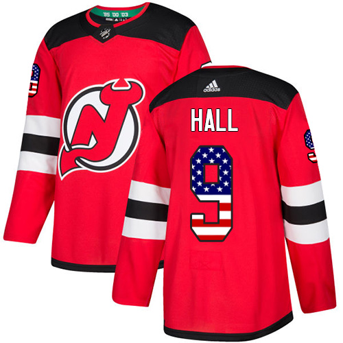 Adidas Devils #9 Taylor Hall Red Home Authentic USA Flag Stitched NHL Jersey