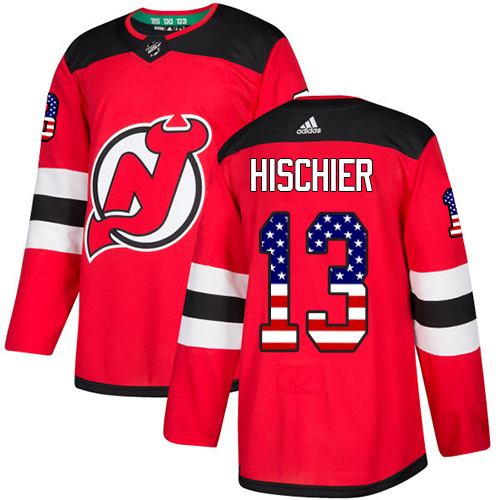 Adidas Devils #13 Nico Hischier Red Home Authentic USA Flag Stitched NHL Jersey