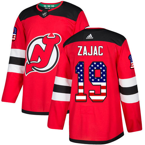 Adidas Devils #19 Travis Zajac Red Home Authentic USA Flag Stitched NHL Jersey