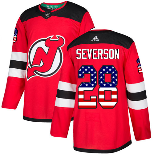 Adidas Devils #28 Damon Severson Red Home Authentic USA Flag Stitched NHL Jersey