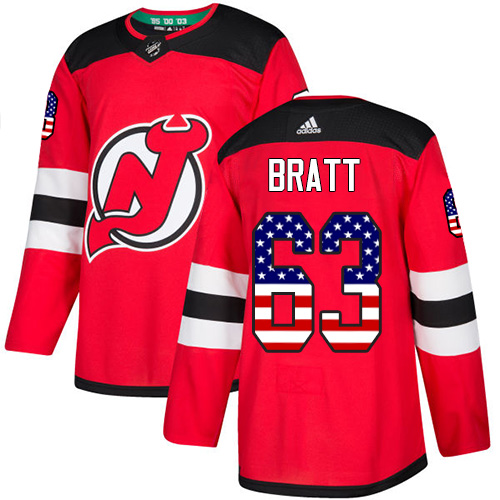 Adidas Devils #63 Jesper Bratt Red Home Authentic USA Flag Stitched NHL Jersey