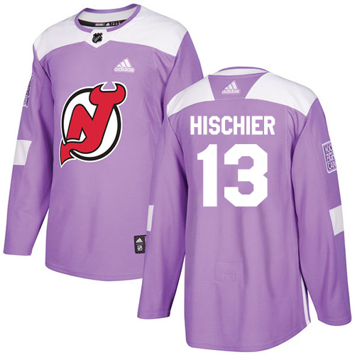 Adidas Devils #13 Nico Hischier Purple Authentic Fights Cancer Stitched NHL Jersey