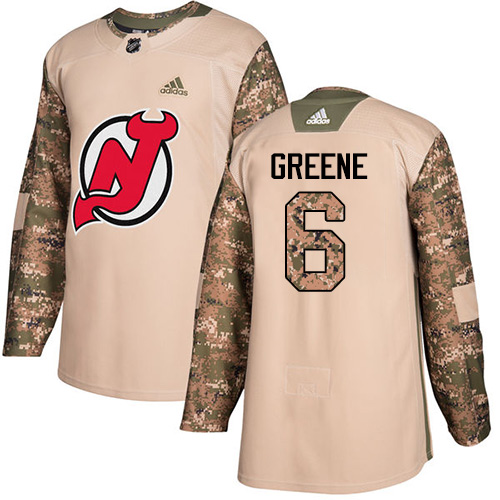 Adidas Devils #6 Andy Greene Camo Authentic Veterans Day Stitched NHL Jersey