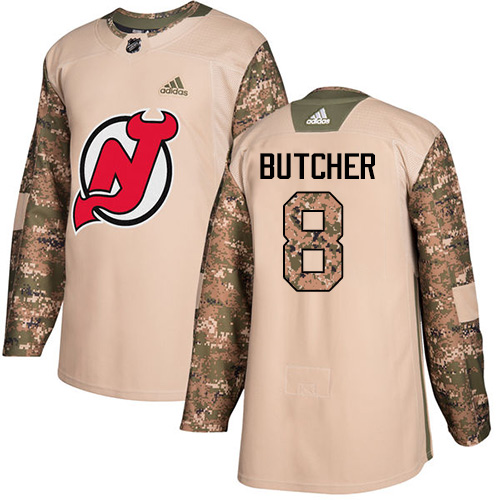 Adidas Devils #8 Will Butcher Camo Authentic Veterans Day Stitched NHL Jersey