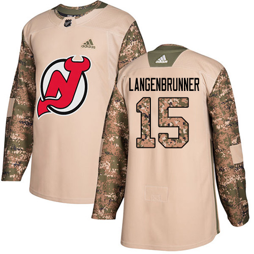 Adidas Devils #15 Langenbrunner Camo Authentic Veterans Day Stitched NHL Jersey