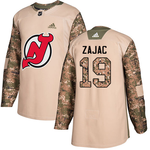 Adidas Devils #19 Travis Zajac Camo Authentic Veterans Day Stitched NHL Jersey