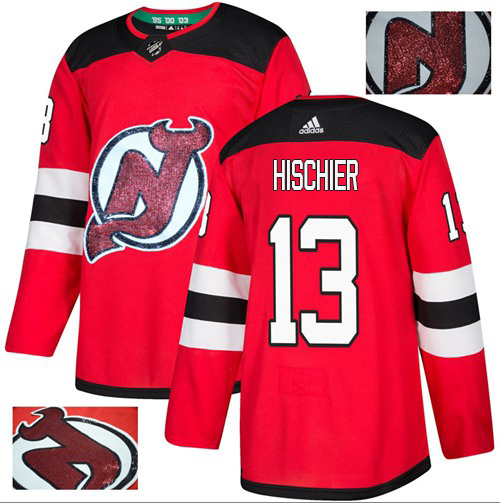 Adidas Devils #13 Nico Hischier Red Home Authentic Fashion Gold Stitched NHL Jersey