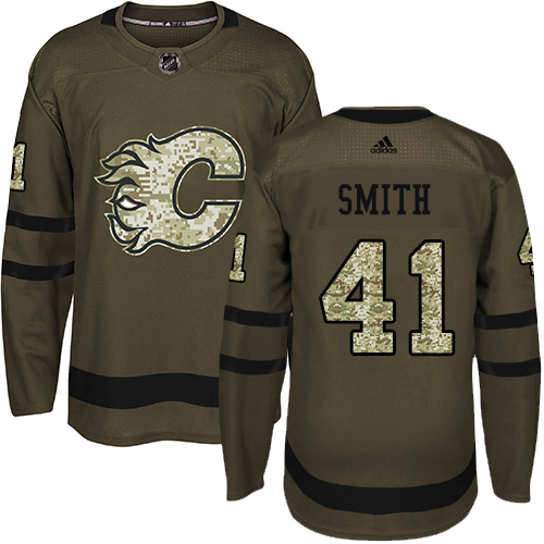 Adidas Flames #41 Mike Smith Green Salute to Service Stitched NHL Jersey