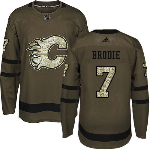 Adidas Flames #7 TJ Brodie Green Salute to Service Stitched NHL Jersey