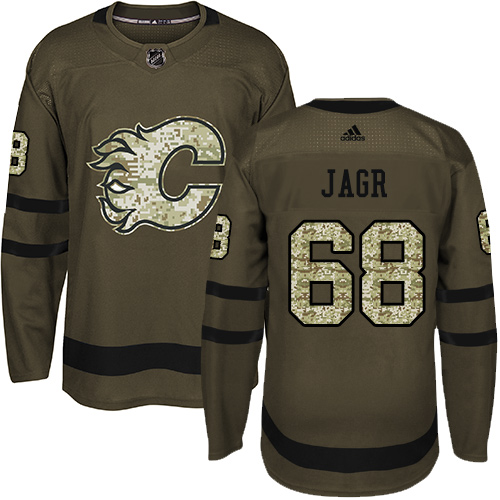 Adidas Flames #68 Jaromir Jagr Green Salute to Service Stitched NHL Jersey