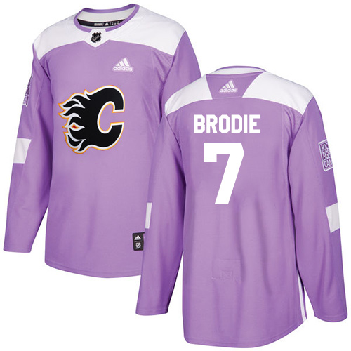Adidas Flames #7 TJ Brodie Purple Authentic Fights Cancer Stitched NHL Jersey