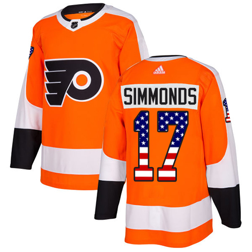 Adidas Flyers #17 Wayne Simmonds Orange Home Authentic USA Flag Stitched NHL Jersey