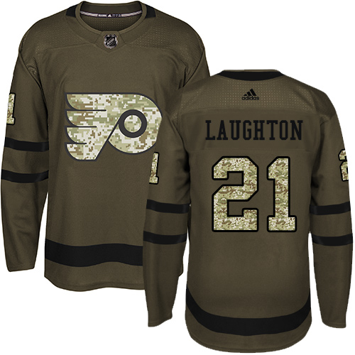Adidas Flyers #21 Scott Laughton Green Salute to Service Stitched NHL Jersey