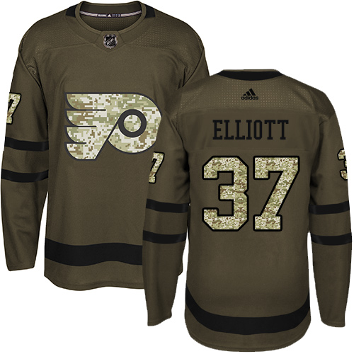 Adidas Flyers #37 Brian Elliott Green Salute to Service Stitched NHL Jersey