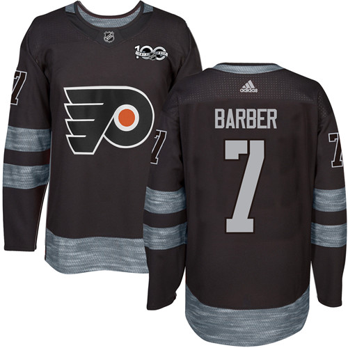Adidas Flyers #7 Bill Barber Black 1917-100th Anniversary Stitched NHL Jersey
