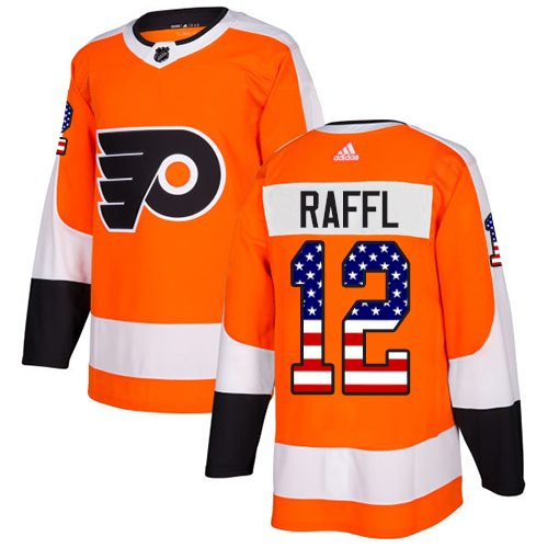 Adidas Flyers #12 Michael Raffl Orange Home Authentic USA Flag Stitched NHL Jersey