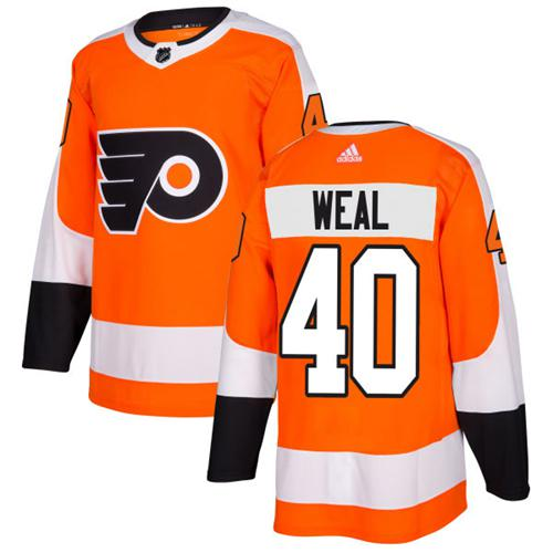 Adidas Flyers #40 Jordan Weal Orange Home Authentic Stitched NHL Jersey
