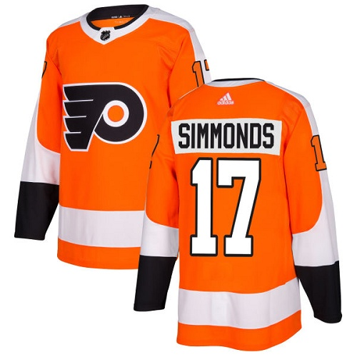 Adidas Flyers #17 Wayne Simmonds Orange Home Authentic Stitched NHL Jersey