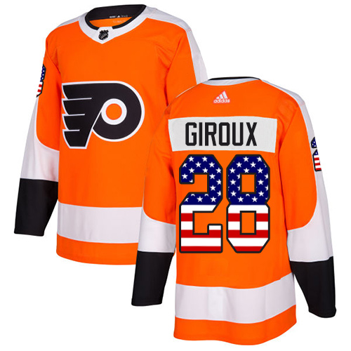 Adidas Flyers #28 Claude Giroux Orange Home Authentic USA Flag Stitched NHL Jersey