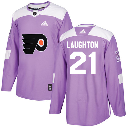 Adidas Flyers #21 Scott Laughton Purple Authentic Fights Cancer Stitched NHL Jersey