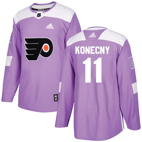 Adidas Flyers #11 Travis Konecny Purple Authentic Fights Cancer Stitched NHL Jersey
