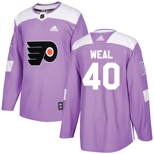 Adidas Flyers #40 Jordan Weal Purple Authentic Fights Cancer Stitched NHL Jersey