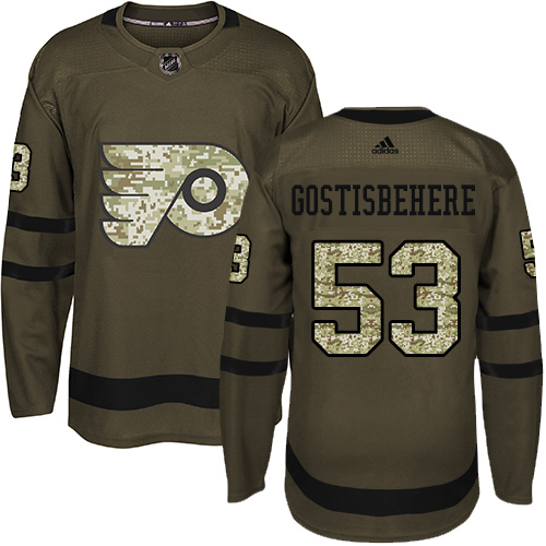 Adidas Flyers #53 Shayne Gostisbehere Green Salute to Service Stitched NHL Jersey